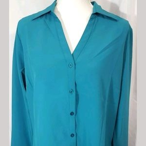 Lilac Bloom Blouse Teal womens size Large
